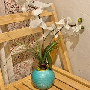 Large Artificial White Orchids in Turquoise Pot